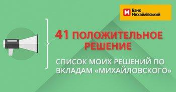 Положительные решения банк Михайловский